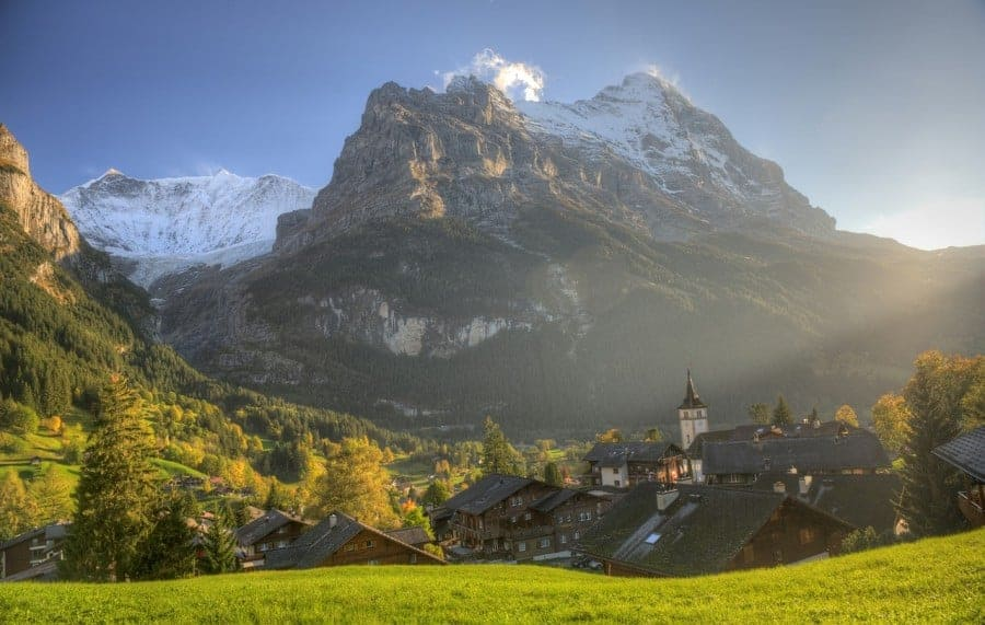 Lauterbrunnen in Switzerland is the valley of 72 waterfalls. Read our guide on what to do when staying in Lauterbrunnen. #swissvillage #lauterbrunnen #switzerland #alps #valleyofwaterfalls