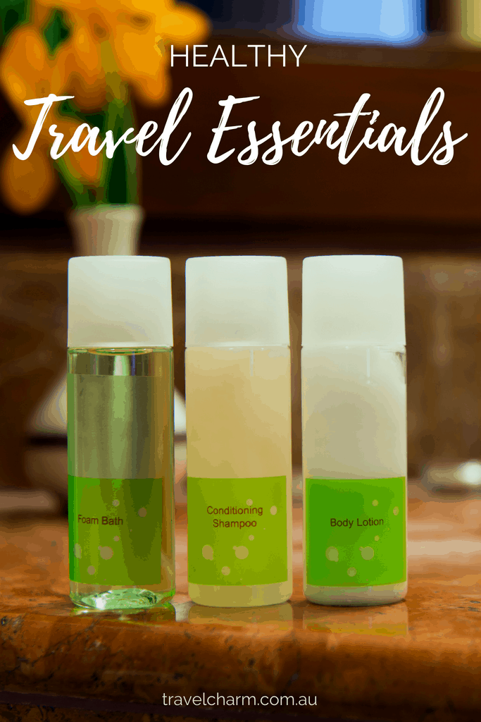 I prefer to use natural products at home and when travelling. Find out what healthy products are included in my essential travel items #healthyliving #traveltoiletries #toiletries #travel